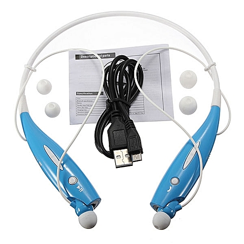HBS-730 Wireless Bluetooth 4.0 Headset Earphone For iPhone For Samsung - Blue and White