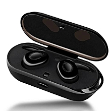 Wireless Earbuds Sweat Proof Twins Earphone Portable Bluetooth Headphone With Charging Box Anti-Drop TWS Headset Black