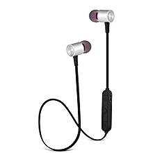 BT - 12 Metal In-ear Magnetic Absorption Sports Bluetooth Earphone Earbuds - SILVER