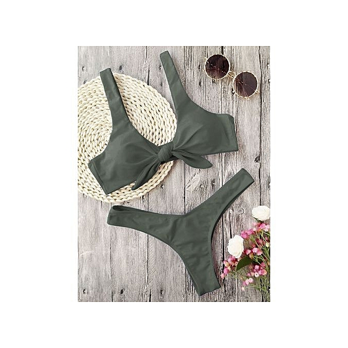 9c2d71befe ZAFUL Bikini Knotted Padded Thong-ARMY GREEN   Best Price