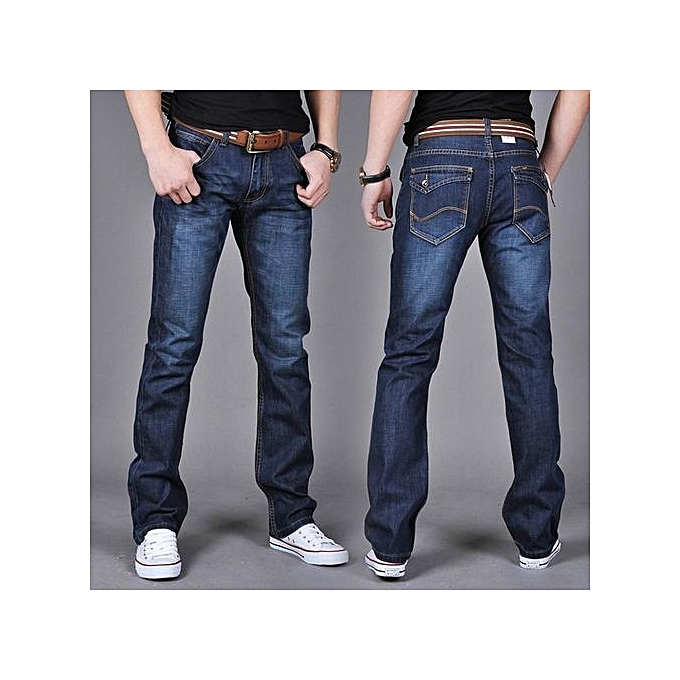 dad6204b783 Dark Blue New Skinny Mens Jeans Men Brand Fashion Male Casual Cotton Slim  Straight Elasticity Pants
