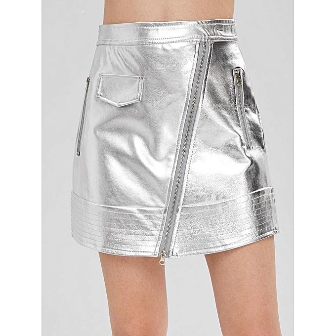 9ea8e5abd5 ZAFUL Zippered Faux Leather Metallic Skirt