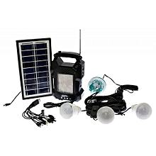 Solar Lighting System With MP3 Player,FM Radio And Rotating Bulb - GD8050 – Black
