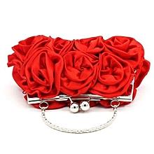 bluerdream-Women Satin Rose Pure Color Handbag Evening Bags Wedding Handbags RD-Red