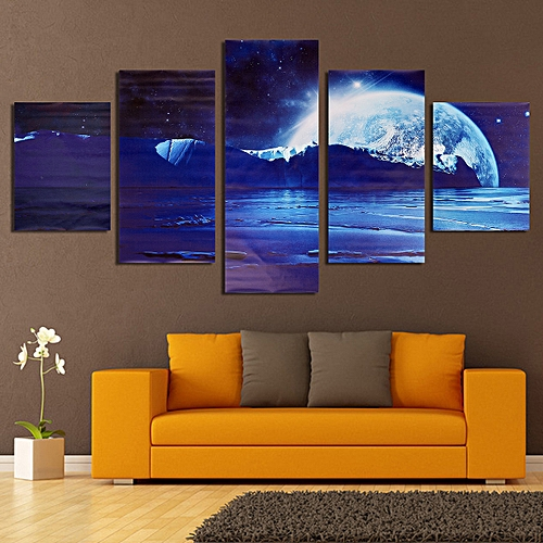 5pc Picture Modern Canvas Painting Universe Print Space Home Room Wall Art Decor