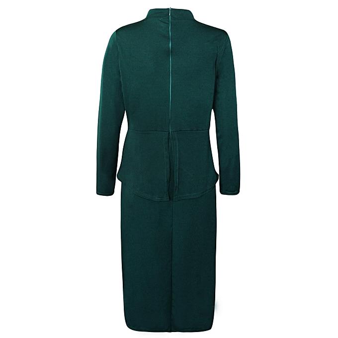 b6b8fc4cd75 ... Autumn Plus Size Bowknot Long Sleeve Women Dress D1053 Army Green ...