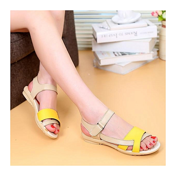 47fc223c0a57 ... Fashion Women Leather Color Match Peep Toe Fish Toe Hook Loop Strappy  Flat Sandals-EU ...