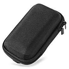 Portable Earphones Accessory Storage Zipper Box-BLACK