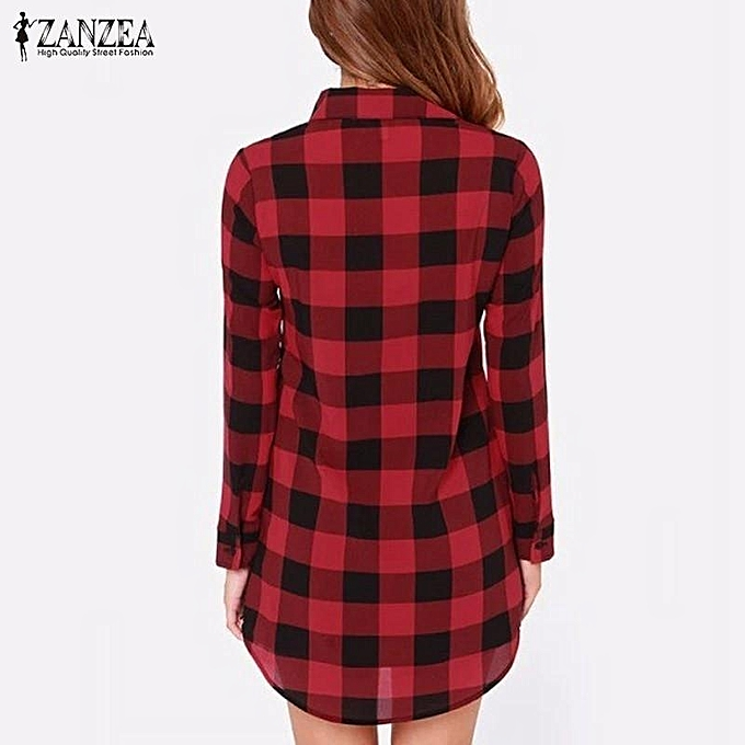 13e4d6d9 ZANZEA Autumn ZANZEA Women Vintage Plaid Shirts Casual Loose Lapel Long  Sleeve Buttons Blouses Tops Long Outwear US Plus Size 4-22 (Red)