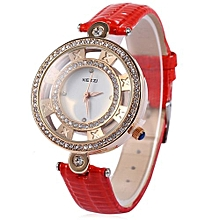 Women Quartz Watch Creative Hollow Dial Leather Band Wristwatch-RED