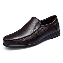 Mens Dress Fashion Genuine Leather Loafers Shoes Dark Brown