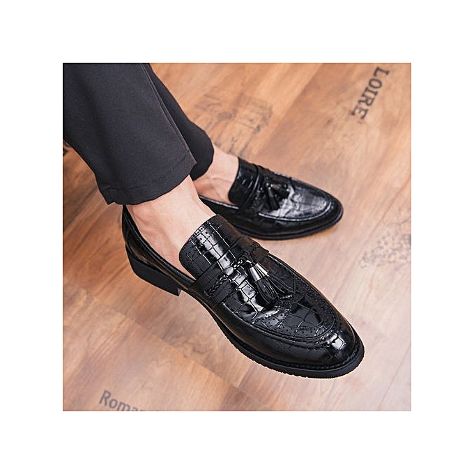 8d617640978 Gentleman Leather Shoes Mens Tassel Italian Formal Shoes Luxury Fashion  Elegant Oxford Shoes For Men Dress Party Footwear Black