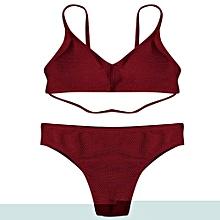Padded Cross Back 2 Pieces Bikini Swimwear