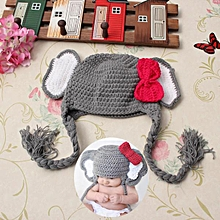 Baby Animal Elephant Bowknot Photo Prop Crochet Knitted Wool Warm Hat Cap Winter