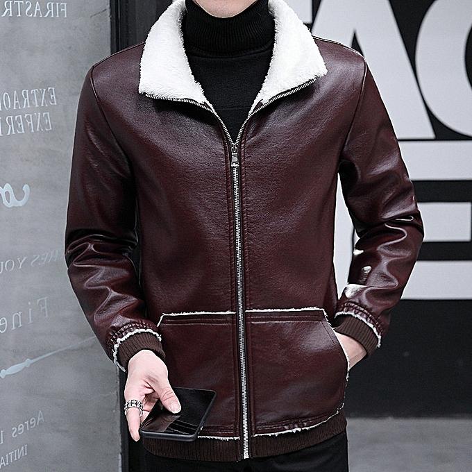 european street tide men s locomotive leather coat slim-type fur collar pu  leathe casual leather 922895829bb89