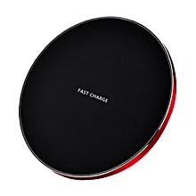 9V Portable Thin Wireless Round Quick Charging Pad Charger for iPhone Samsung-Black + Red