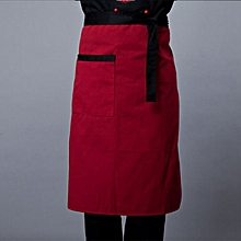 Men Chef Plaid Half-Length Short Waist Apron with Pocket Catering Chef Coffee