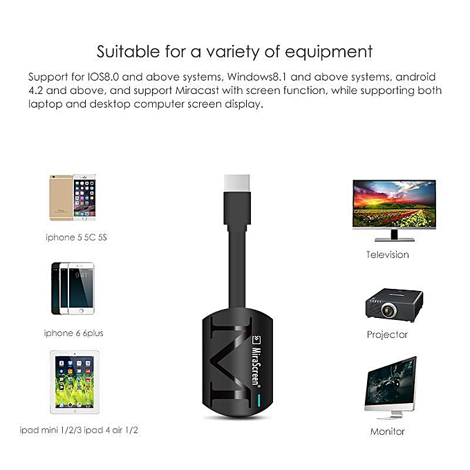 Womdee A Set Of 3 MIRASCREEN AIRPLAY MIRRORING DONGLE FOR IPHONE IPAD  ANDROID SMARTPHONE WIFI MIRRORING SCREEN DEVICE (Black) YCMI-A