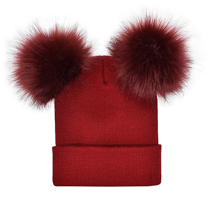 Women Winter Warm Crochet Knit Double Faux Fur Pom Pom Beanie Hat Cap d4c776cb38f