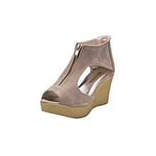Women Shoes Summer Sandals Casual Peep Toe Platform Wedges Sandals Shoes-Khaki (EU Sizing)