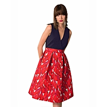 Closet Navy and Red Floral Pleated Skater