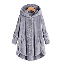 Stylish Women Button Coat Fluffy Tail Tops Hooded Pullover Loose Sweater