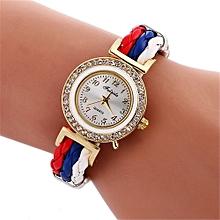 Lady  Leather Wrist Watch Fulaida  Women Fashion Diamond Quartz Watch Leather Strap Belt Table Watch A-White