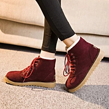 Women Winter Warm With Velvet Flat With Lace Up Snow Boots Ankle Shoes RD/36-Red36