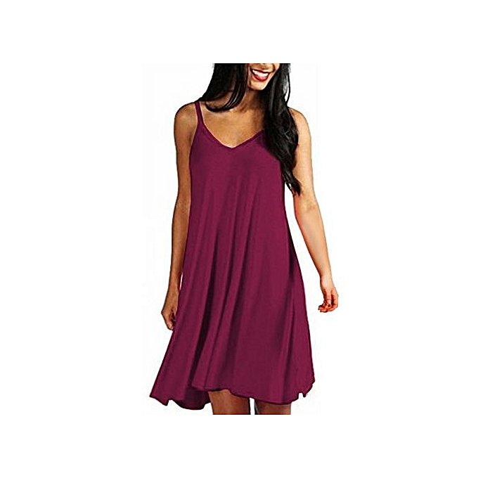 11d7164dce8 Hiaojbk Store Women s Solid Casual Plain Simple Loose Summer Sling Dresses  Sundress-Wine Red