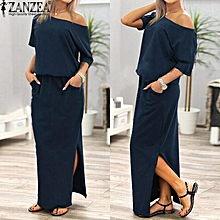 ZANZEA Women Off Shoulder Side Split Maxi Long Dress Summer lADIES Elastic Waist Short Sleeve Kaftan Vestido Plus Size S-5XL (Navy)