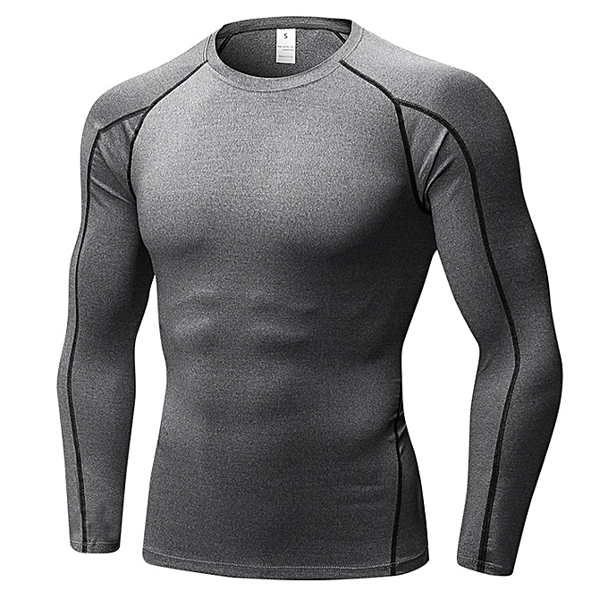 5b5f274f8 Stylish Men s Stretch Long Sleeve Shirt Tight Fitness Training T Shirt -Grey