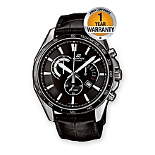 Black Leather Straps Watch With Black Dial