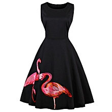 Two Flamingo Printing Sleeveless Dress - Black