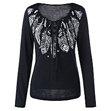 Long Sleeve Feather Print Lace Up T-shirt - BLACK