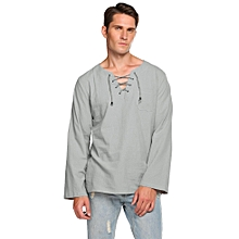 Men  African Style Lace-Up Pocket Solid Simple Cotton Long Sleeve T-Shirt-Array
