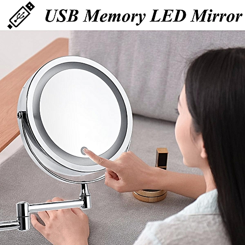 7 10x Magnifying Cosmetic Mirror Wall Mounted Adjule Led Light Makeup Lamp