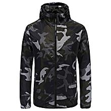 Camouflage Print Slim Zipper Jacket