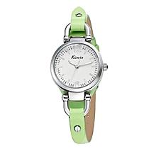 Green Leather Bracelet Chain Watch