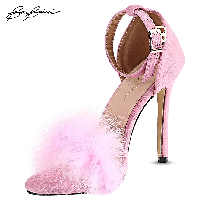 e12a5bb4450 Feather Open Toe Ladies Thin High Heel Sandals-PINK