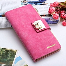 New Fashion Lady Women Bowknot Purse Clutch Wallet Long Card Holder Mobile Bag Rose Red