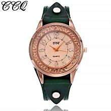Olivaren CCQ Women's Casual Quartz Leather Band Newv Strap Watch Analog Wrist WatchGreen