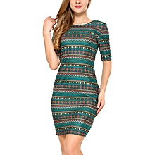 Mixfeer Women's Vintage Print Open Back Bodycon Dress