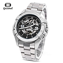 G016 Men Auto Mechanical Watch-STEEL BAND+SILVER DISPLAY+BLACK DIAL