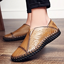 Fashion Men Hand Stitching Stylish Cap-toes Vintage Flat Slip On Casual Loafers red brown