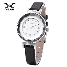 Female Quartz Watch Artificial Diamond Dial Stereo Mirror Leather Band Wristwatch-WHITE AND BLACK