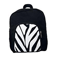 Black canvas trendy school bag with zebra print