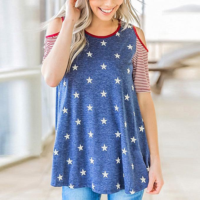 03dd05ecaa330a birthpar store Women Summer Off Shoulder Short Sleeve American Flag Blouse  T Shirt-Blue