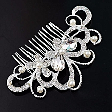 Bridal Wedding Butterfly Diamond Pearl Hairpin Hair Clip Comb Jewelry-Silver
