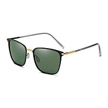 Men Fashion Uv400 Square Frame Polarized Sunglasses (gold & Black + Dark Green)