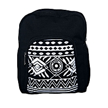 Black canvas trendy school bag with tribal print